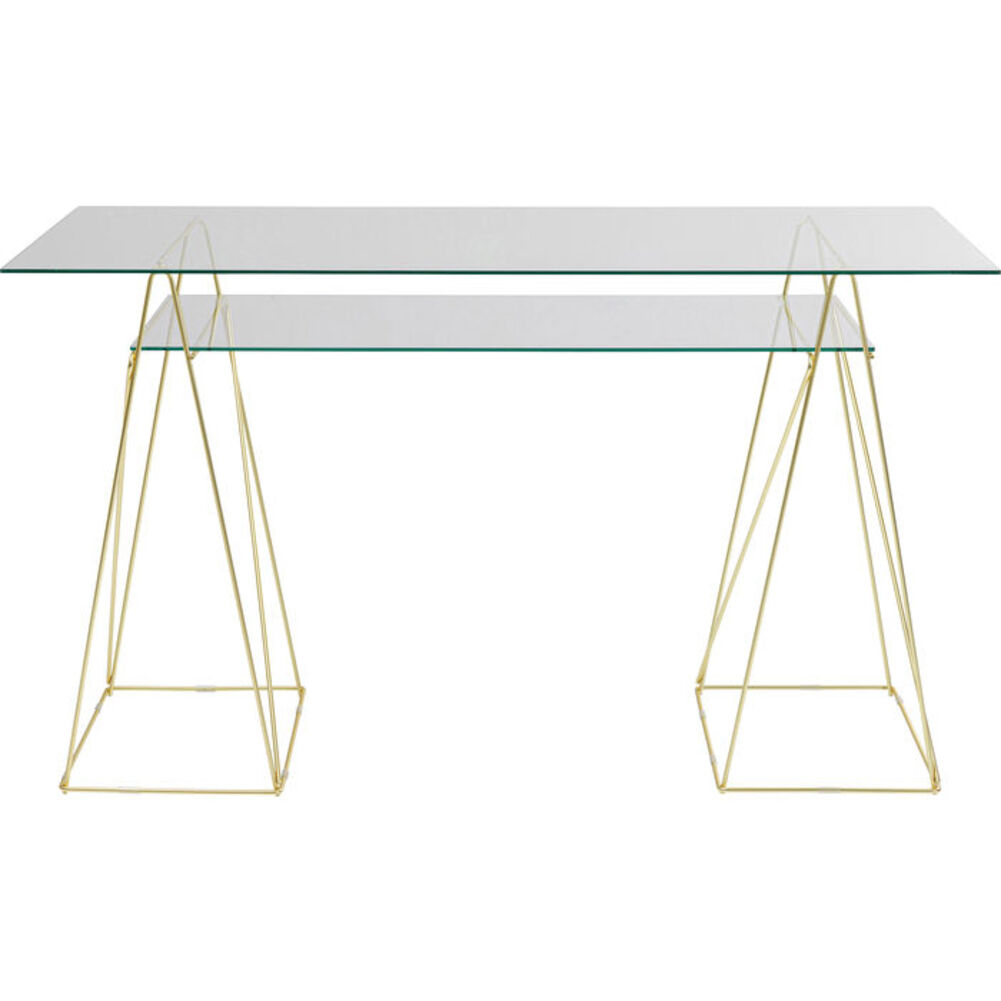 Console Polar Gold-Transparent Metal-Glass 74x135x65cm