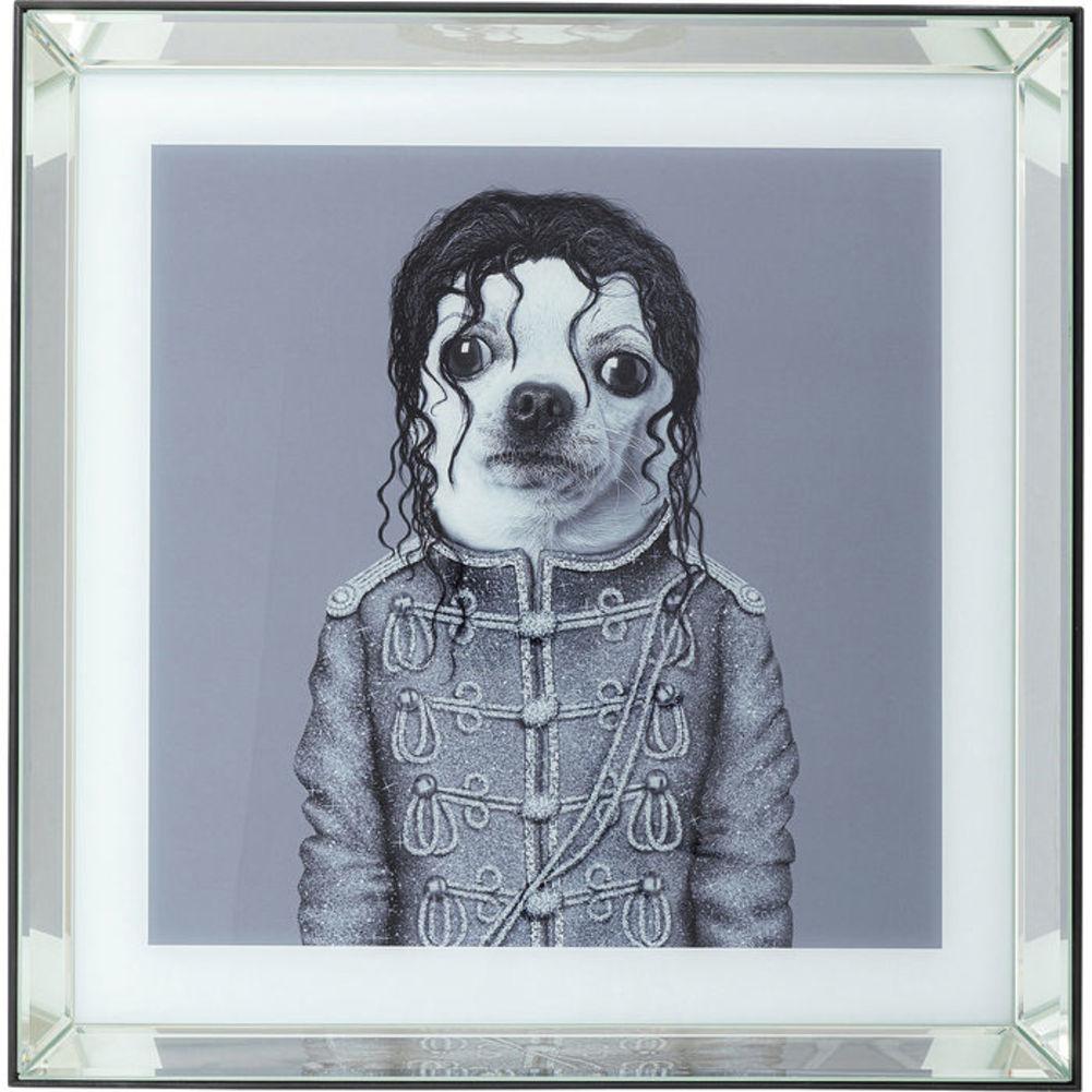 Picture Frame King Dog Mirror-Black 60x60cm