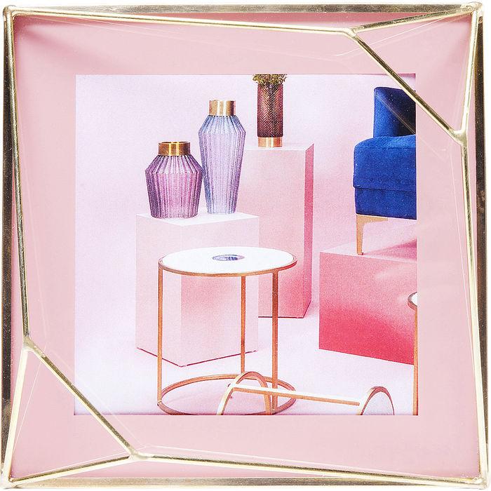 Κορνίζα Art Pastel Ροζ Μέταλλο-Γυαλί 10x10cm