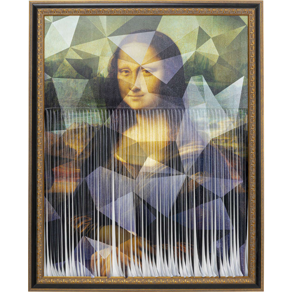 Painting On Canvas Mademoiselle Mona Lisa With Torn Stripes Green-Brown 130x163cm