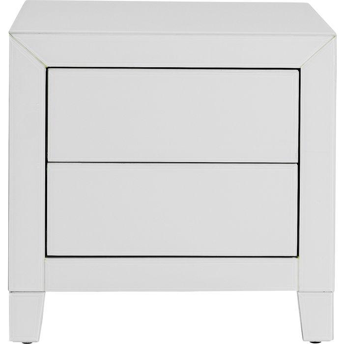 Κομοδίνο Καθρέφτης Λευκό Luxury Push 2 Συρτάρια