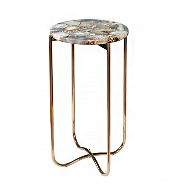 Side Table Noble I Agate Blue 35x35x62cm