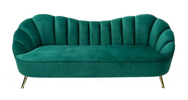Three-Seater Sofa Arielle Velvet Green 220x92cm