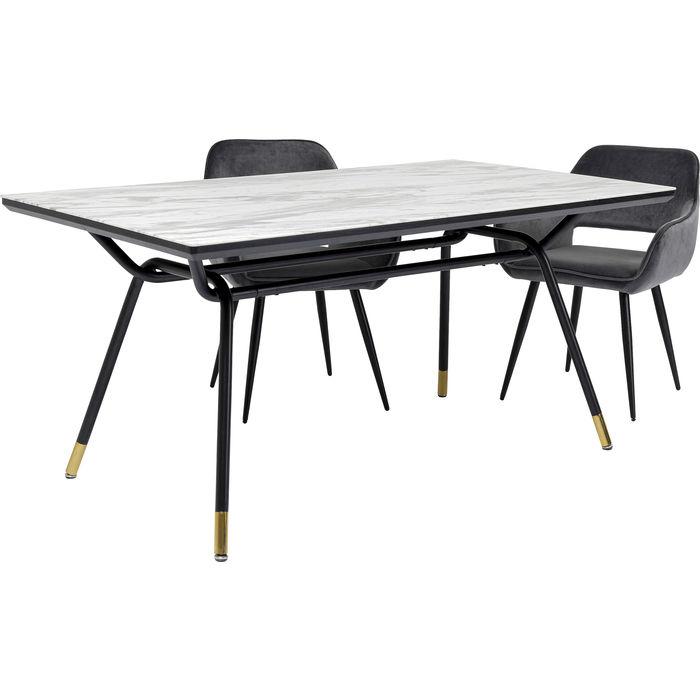 Τραπέζι South Beach Μάρμαρο Λευκό-Μαύρο