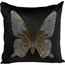 Cushion Diamond Butterfly Black 45x45cm