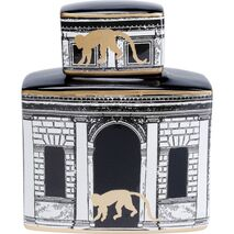 Decorative Jar Temple Black-White-Gold 24x20x10cm