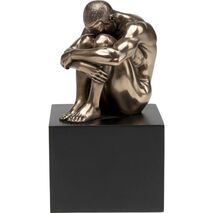 Table Decorative Nude Man Thinking Bronze-Black 8x11x11cm