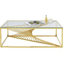 Coffee Table Laser Metal-Glass Gold 120x60cm