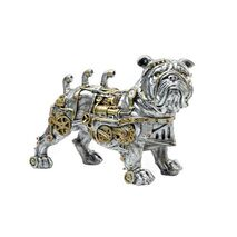 Table Decorative Transformer Bulldog With Gears Silver-Bronze 12.5x20x29.5cm