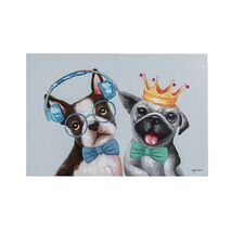 Painting On Canvas Touched Music Lover Dogs With Bow Tie Multicolored 100x70cm