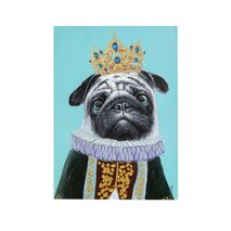Painting On Canvas Touched Pug Dog Big King Blue-Grey 50x70cm