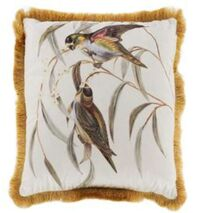 Cushion With Fringes Amusing Birds White-Brown 45x45cm