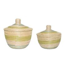 Storage Baskets With Lid Panama Ampolla Beige-Green (Set 2)