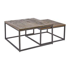 Τραπέζια Μέσης Elements Ξύλο-Μέταλλο Καφέ-Μαύρο (Σετ 2)