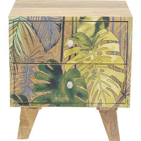 Κομοδίνο Jungle Fever Ξύλινο Καφέ-Πράσινο 45x30x50 εκ.